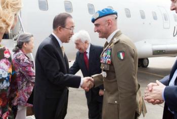 Ban Ki-moon (à esq.) e o major-general Luciano Portolano, chefe da Unifil.Foto: ONU
