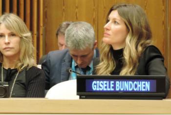 Gisele Bündchen em evento sobre o Dia Mundial da Vida Selvagem, na sede da ONU, em Nova York. Foto: Rádio ONU.