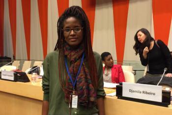Djamila Ribeiro nas Nações Unidas. Foto: Rádio ONU/Leda Letra