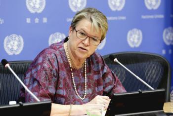 Chefe da Unmiss, Ellen Margrethe Løj. Foto: ONU/Evan Schneider