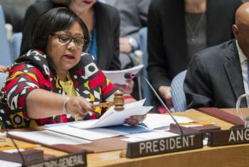 Filomena Delgado na abertura da sessão no Conselho de Segurança. Foto: ONU/Manuel Elias