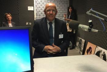 Ministro dos Negócios Estrangeiros de Portugal, Augusto Santos Silva, nos estúdios da Rádio ONU. Foto: Rádio ONU.