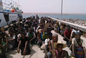 Migrantes etíopes evacuados para Djibouti pela OIM para escapar dos conflitos no Iémen. Foto: OIM