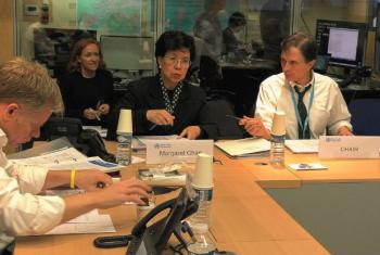 Margaret Chan reunida com o Comitê de Emergência sobre o zika. Foto: OMS
