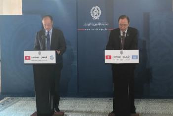 Jim Yong Kim e Ban Ki-moon na Tunísia