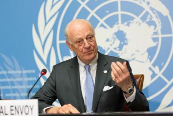 Staffan de Mistura nesta quinta-feira em Genebra. Foto: ONU/Elma Okic