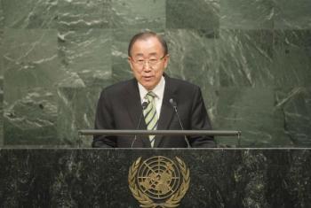 Ban Ki-moon em discurso na Assembleia Geral, esta sexta-feira, 22 de abril. Foto: ONU/Rick Bajornas