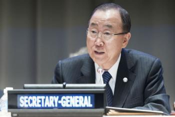 Ban Ki-moon em evento nesta segunda-feira na sede da ONU. Foto: ONU/Mark Garten