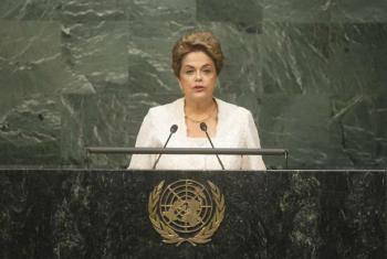 Dilma Rousseff em discurso na Assembleia Geral, nesta sexta-feira. Foto: ONU/Rick Bajornas