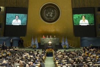 Dilma Rousseff discursa na Assembleia Geral. Foto: ONU/Rick Bajornas