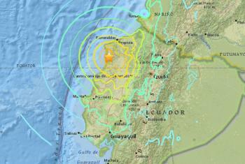 Mapa mostra local atingido pelo terremoto no Equador. Foto: Usgs/2016