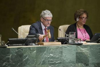 Mogens Lykketoft comandou a votação na Assembleia Geral.Foto: ONU/Manuel Elias
