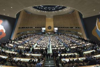 Panorama da Assembleia Geral da ONU durante a cerimônia de assinatura do Acordo de Paris. Foto: ONU/Rick Barjonas