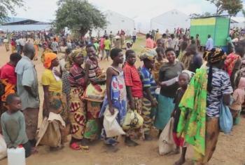 Distribuição de ajuda alimentar em acampamento para deslocados. Foto: PMA