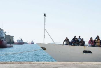 Refugiados e migrantes no porto de Augusta em Sicília, Itália. Foto: Acnur/Patrick Russo