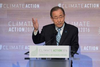Ban Ki-moon discursano evento Ação Climática 2016, realizado em Washington.Foto: ONU/Eskinder Debebe