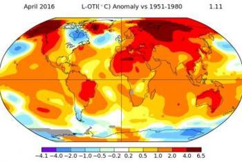 Temperatura global de abril. Imagem: Nasa/OMM