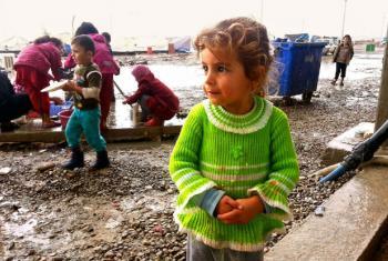 Menina iraquiana em acampamento para deslocados internos, no norte do Iraque. Foto: Ocha/Brandon Bateman