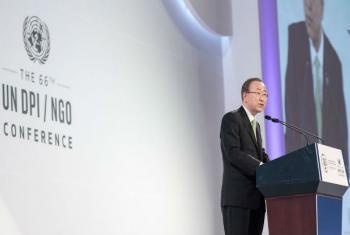 Secretário-geral da ONU, Ban Ki-moon, discursa na abertura da 66ª Conferência da ONU DPI/ONGs, na Coreia do Sul, Foto: ONU/Mark Garten.