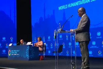 Silva Dunduro discursa na Conferência Humanitária Mundial. Foto: Reprodução vídeo ONU