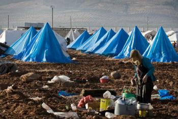 Acampamento para refugiados sírios perto da fronetira com a Turquia. Foto: Ocha