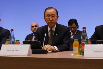 Secretário-geral da ONU Ban Ki-moon, participa da reunião ministerial sobre o Processo de Paz do Oriente Médio, em Paris. Foto: F. de La Mure/maedi