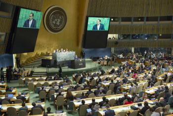 Michel Sidibé em discurso na abertura da reunião de Alto Nível da Assembleia Geral sobre HIV/Aids.Foto: ONU/Rick Bajornas