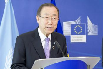 Ban Ki-moon em Bruxelas. Foto: ONU/Rick Bajornas