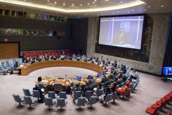 Pronunciamento de Mobido Touré foi feito por videoconferência ao Conselho de Segurança. Foto: ONU/Manuel Elias