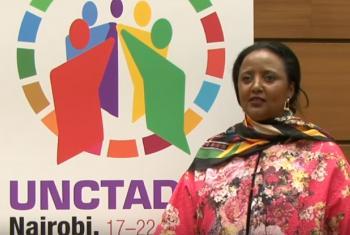 A presidente da Unctad14, Amina Mohamed, celebrou a adoção do documento.Foto: Reprodução vídeo Unctad