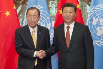 O secretário-geral da ONU, Ban Ki-moon (à esq.), e o presidente da China, Xi Jinping. Foto: ONU/Eskinder Debebe