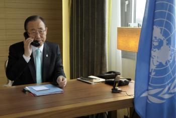 Ban Ki-moon falou com o ministro das Relações Exteriores da Turquia.Foto: ONU/Evan Schneider (arquivo)
