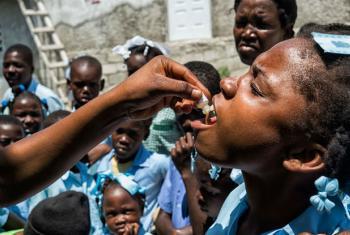 Campanha de vacinação contra o cólera no Haiti. Foto: Minustah/Logan Abassi