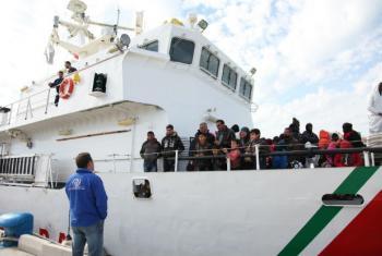 Chegada de migrantes pelo Mediterrâneo. Foto: OIM/Francesco Malavolta (arquivo)