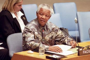 Nelson Mandela em reunião no Conselho de Segurança em setembro de 2000. Foto: ONU/Eskinder Debebe