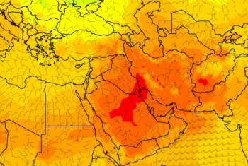 No dia 21 de julho, os termômetros no Kuweit bateram a marca dos 54°C.Imagem: OMM