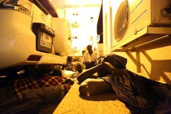 Deslocados abrigados em instalações da ONU durante os combates. Foto: Unmiss.