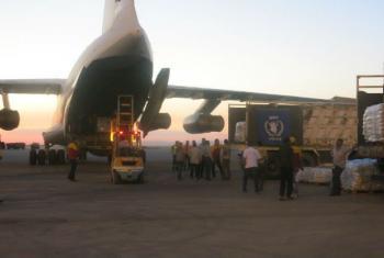 Avião do PMA com toneladas de alimentos. Foto: PMA (arquivo)