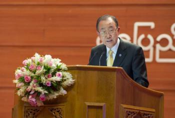Ban Ki-moon em conferência da paz. Foto: ONU/Eskinder Debebe