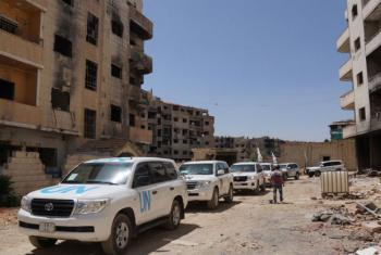 Agências da ONU entregam itens de assistência em Daraya, na Síria. Foto: OMS/Azret Kalmykov 2016