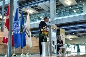Secretário-geral, Ban Ki-moon, discursa na universidade de Calgary, no Canadá. Foto: ONU