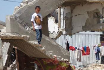 Criança na Faixa de Gaza. Foto: Ocha