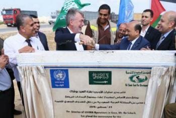 Em 25 de agosto, a Unrwa deu início ao que será sua maior base de logística na Faixa de Gaza. Foto: Unrwa