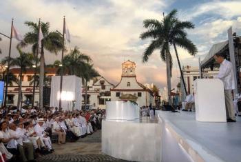 O ex-secretário-geral da ONU, Ban Ki-moon, discursou durante a cerimônia de assinatura do acordo de paz da Colômbia, em Cartagena. Foto: OSSG