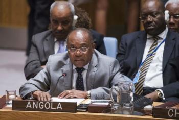 Manuel Domingos Augusto em discurso no Conselho de Segurança.Foto: ONU/Amanda Voisard