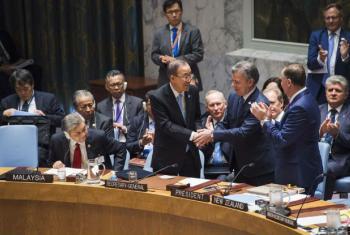 Reunião no Conselho de Segurança sobre o acordo de paz na Colômbia. Foto: ONU/Amanda Voisard