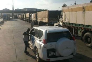 Caminhões de ajuda humanitária para a Síria. Foto: Mecanismo de Monitoramento da ONU/Tonglet
