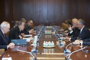 Encontro de Ban Ki-moon com o presidente de Portugal, Marcelo Rebelo de Sousa. Foto: ONU/Eskinder Debebe
