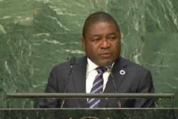 Filipe Jacinto Nyusi em discurso na Assembleia Geral. Foto: Reprodução vídeo
