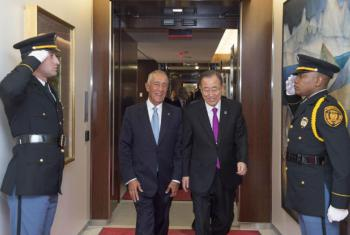 Encontro de Ban Ki-moon (à dir.) com o presidente de Portugal, Marcelo Rebelo de Sousa. Foto: ONU/Eskinder Debebe